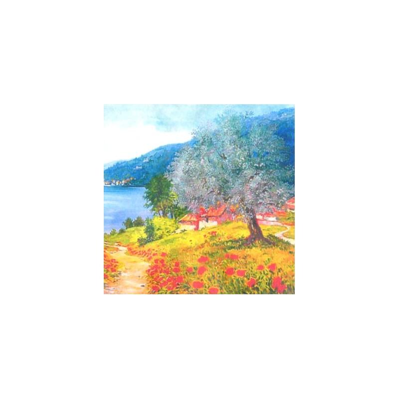 "Pocket bookmark by Beniamino Ajroldi ""Poppies on Lake Garda"""