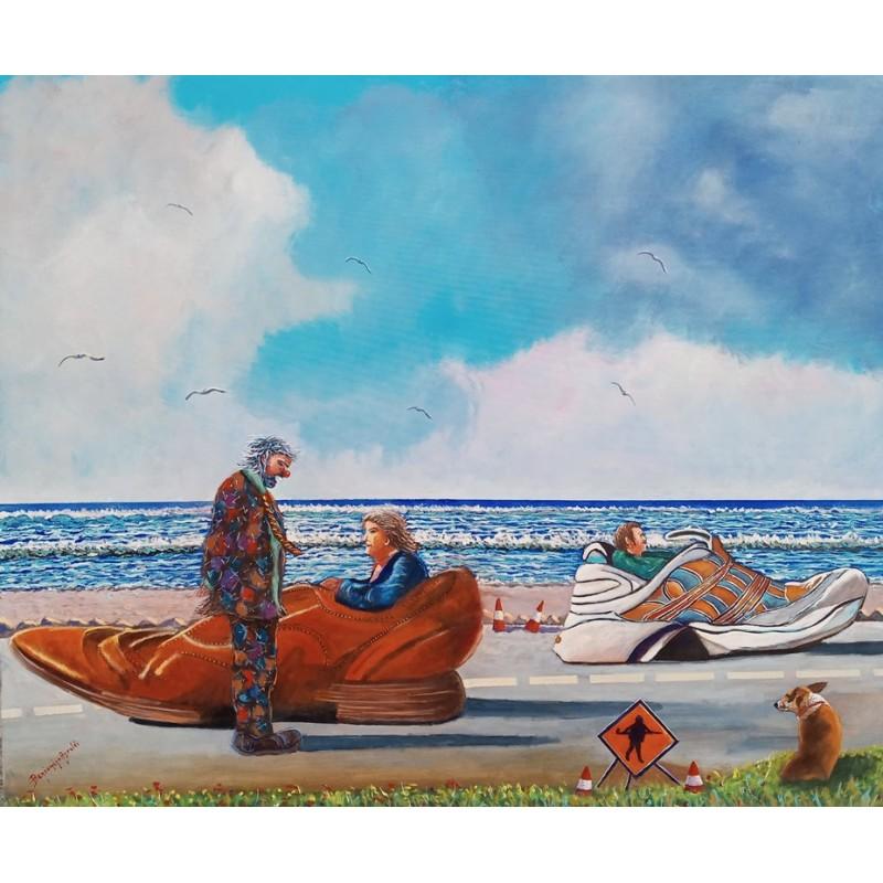 "Oil painting on canvas by Beniamino Ajroldi ""Futuristic single-seaters"""
