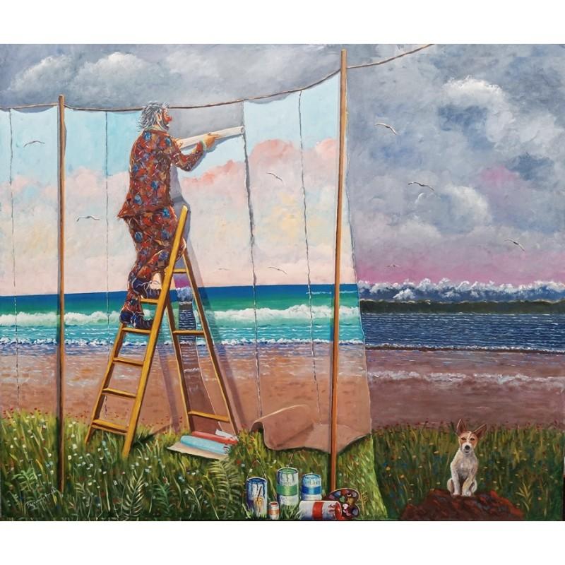 """Dipinto olio su tela di Beniamino Ajroldi """"Prometto che farò tornare il sereno"""""""