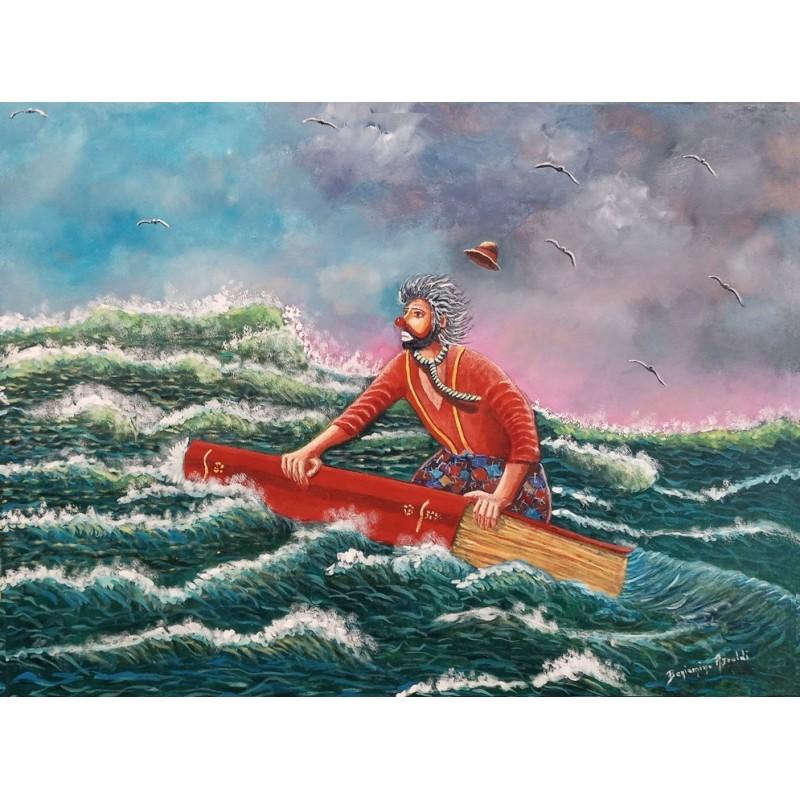 "Dipinto olio su tela di Benjamino Ajroldi ""Quando un libro ti salva la vita"""