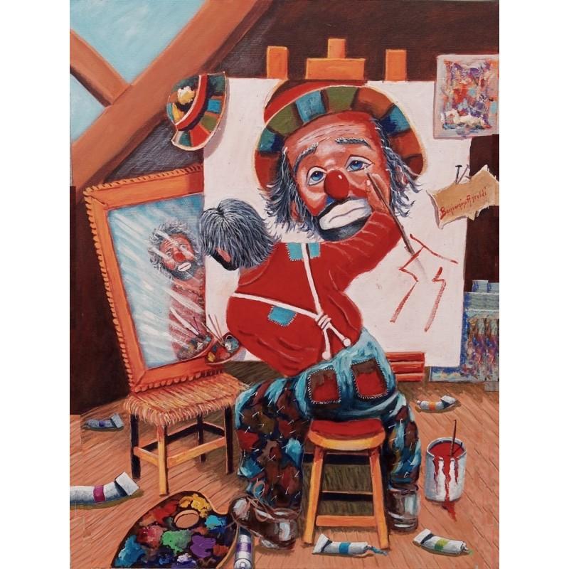 """Dipinto olio su tela di Beniamino Ajroldi """"Alla ricerca di me stesso"""""""
