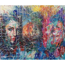"""Oil painting on canvas by Annalisa Girlanda """"Lionesses"""""""