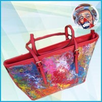 Women's leather bags hand painted