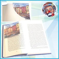 Pocket bookmark with image reproduced in oleography on both sides.
