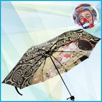 Silk-screened umbrellas with an artistic theme