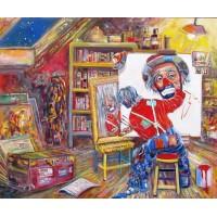 """Magneti in oleografia 5,5x8 cm di Beniamino Ajroldi soggetto """"Clowns"""""""